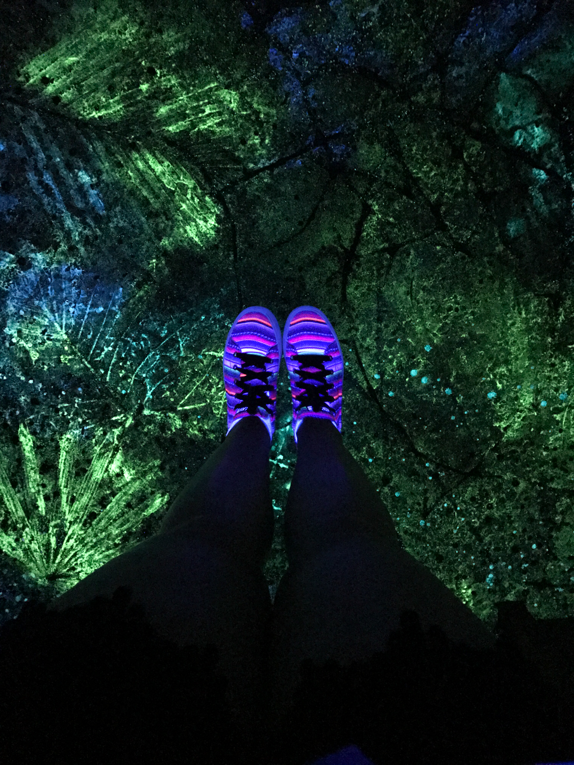 At night, glowing sidewalks light the way in Disney's Pandora - The World of Avatar